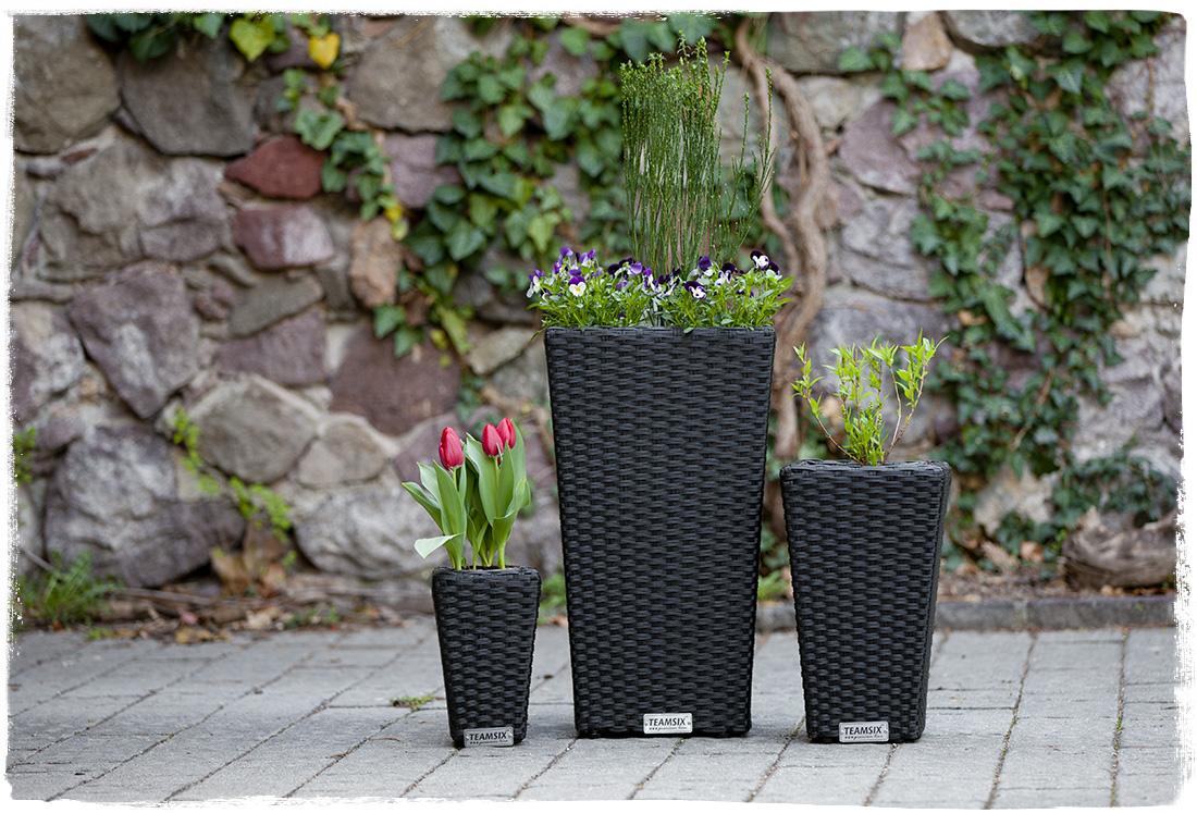 Teamsix vaso fiori rettangolare rattan teamsix mobili rattan - Vasi da interno alti ...