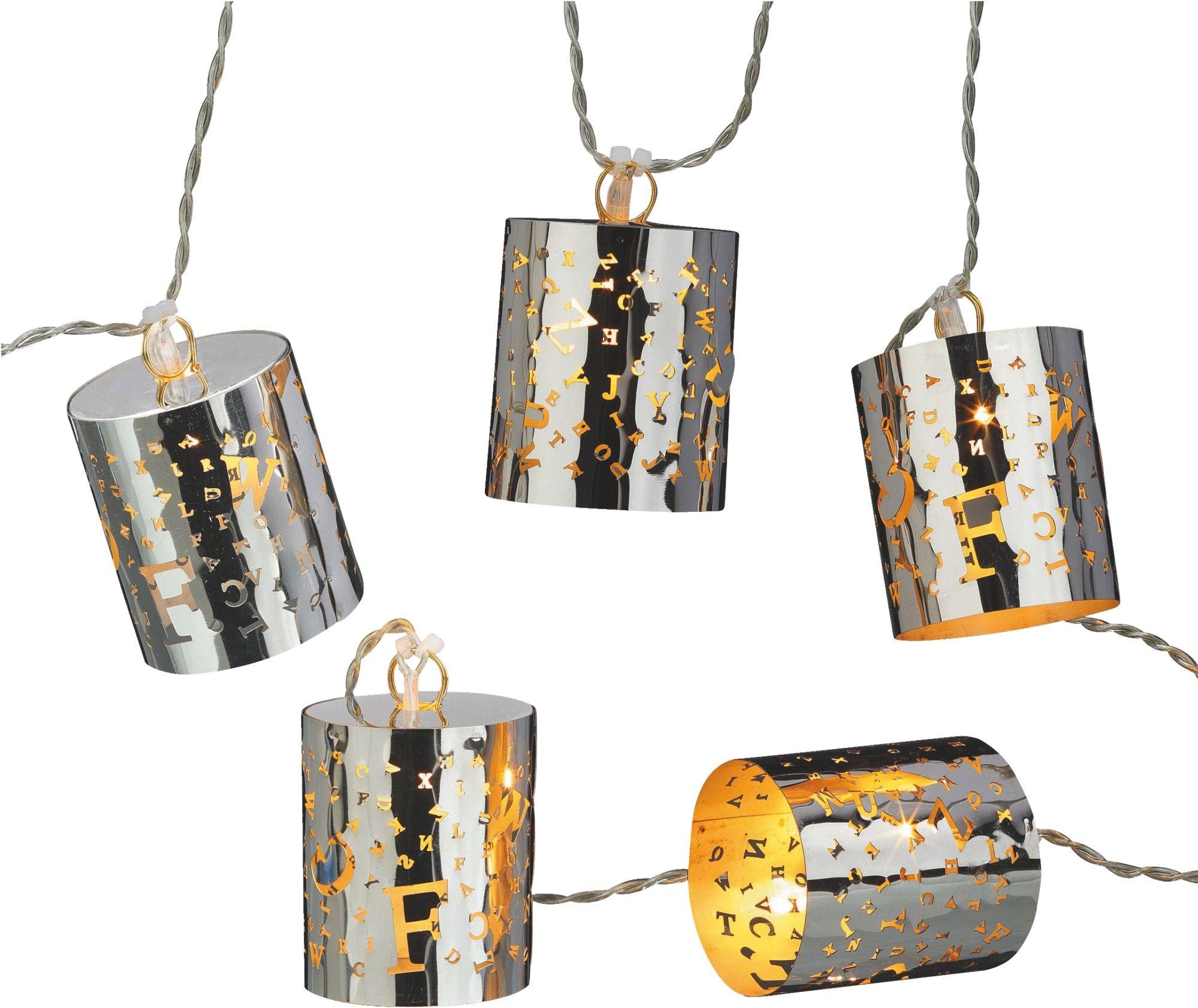 teamsix led lichterkette mit 6 metallzylindern und buchstaben aus metall hellum. Black Bedroom Furniture Sets. Home Design Ideas